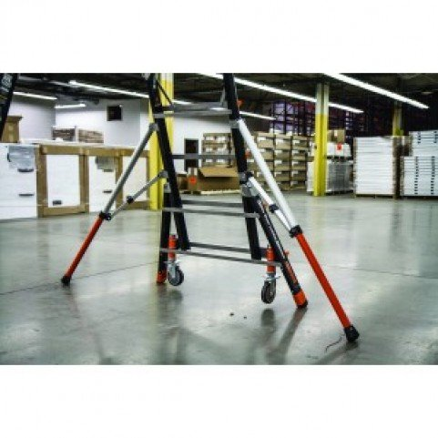 Little Giant Aerial Safety Cage - with Wheel Lift / Adjustable Wide Stance Outriggers / Safety Net / All Terrain Wheels (8' - 14' High)