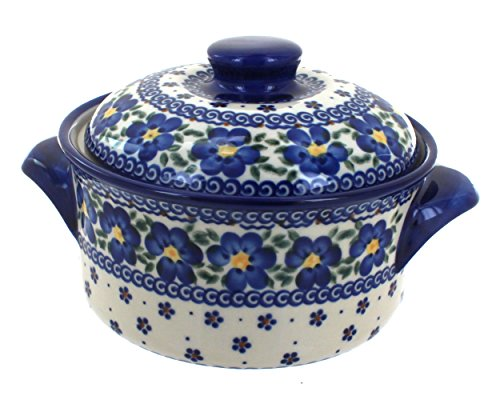 Blue Rose Polish Pottery Spring Blossom Round Baker with Lid ()