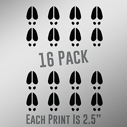 ND034 Deer Track Prints 16-Pack | 2.5-Inches | Premium Quality Black Vinyl