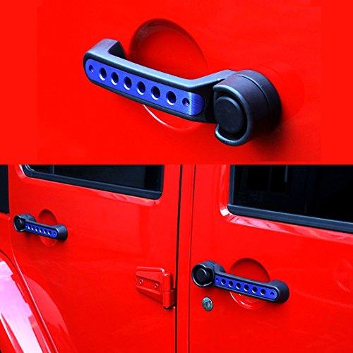 AMERICAN MODIFIED Door Aluminum Grab Handle Inserts Cover for 2007-2018 2&4 Door Jeep Wrangler JK JKU Off-Road Unlimited Accessories (4 Door, Blue)
