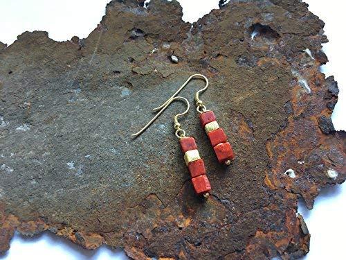 Koralle W/ürfel Ohrringe mit Goldelementen