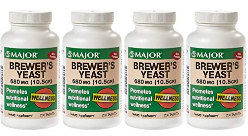 MAJOR Brewers Yeast 680MG(10.5GR) TABS Brewers Yeast (Saccharomyces CEREVISIAE)-680 MG Brown 250 Tablets UPC 309046402701 (Pack 4)