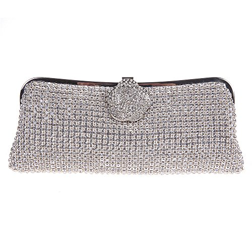 Price comparison product image Fawziya Evening Clutch With Flower Girl Purse For Bridesmaid Clutch-Silver
