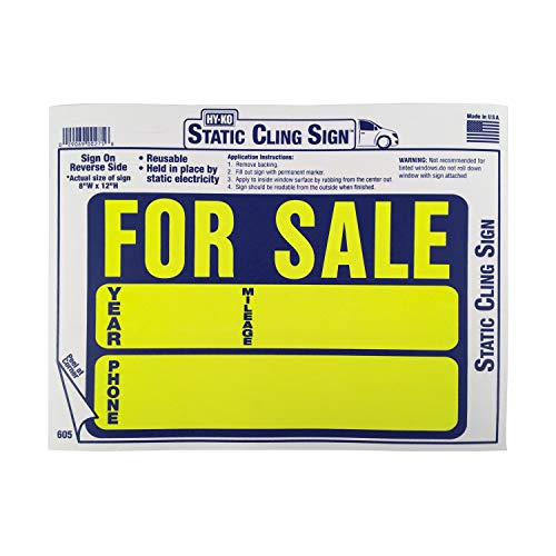 HY-KO Products 605 AUTO for Sale Static Cling Sign, 9