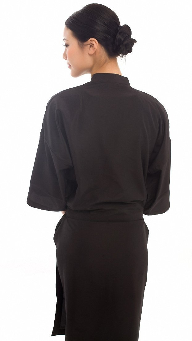 Salon Client Gown Hairdressing Gowns Kimono Style- 43 Long (Black) by Salon robes: Amazon.es: Belleza