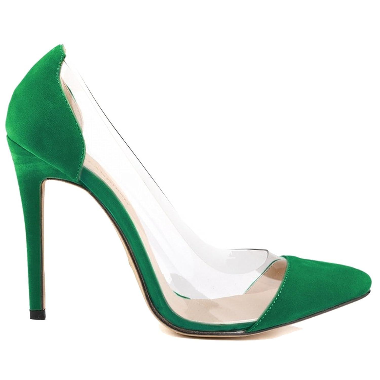 Xianshu Pointed Toe Transparent Glue Stitching High Heel Shoes Shallow Mouth Stiletto Pumps (Green-40 EU) fstSgSw