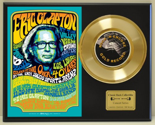 Eric Clapton LTD Edition Vintage Concert Poster Gold Record Display