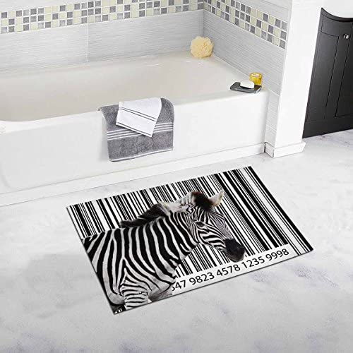INTERESTPRINT Zebra in The Country House Image As A Barcode Bath Rug Non-Slip Bathroom Mat 20 W X 32 L Inches