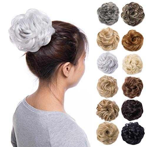 - Scrunchy Updo Hair Bun Clip Messy Donut Chignons Synthetic Wavy Straight Hairpiece Hair Extension (silver gray-thicker, 1PC)