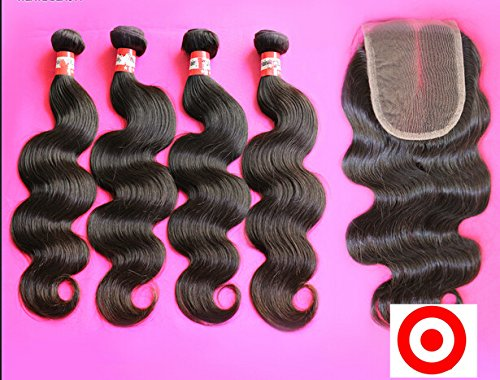 Dajun Hair 7A Middle Part Lace Closure With 3 Bundles Brazilian Virgin Remy Human Hair Body Wave Natural Color  Trademark Dajun 10 Closure 12 12 12 Weft