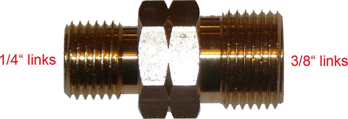 1//4 Links X 3//8 Links Schlauchkupplung /Übergangsst/ücker TGO Verbinder f/ür Gasschlauch 1//4 oder 3//8 Links und rechts