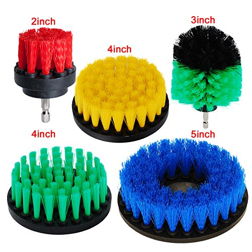 Shower Kit Brush - HIFROM 5pcs Drill Powered Scrub Brush Medium Soft Cleaner Scrubbing Kit for Bathroom surface Grout Tub Shower Kitchen Auto Boat