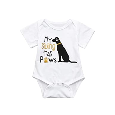 2510b9307f727 Amazon.com: 0-24M Boys Girls Letter Dog Romper Jumpsuit,Toddler ...