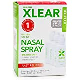 XLEAR Natural Saline Nasal Spray with Xylitol (3 Pack), 2.25oz