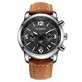 Men's Fashion Quartz Chronograph Waterproof Watches Business Casual Sport Brown Leather Wrist Display Analog Watches