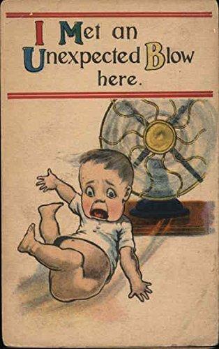 A Boy Blown Away by a Fan Boys Original Vintage Postcard