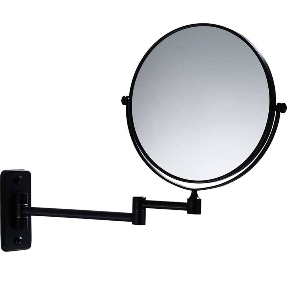 Cavoli 10X Wall Mounted Makeup Mirror 8 Inch Bathroom Two-sided Swivel,Double Sided Magnifying Makeup Mirror for Bathroom, 13'' Extension Oil Bronze Mirror