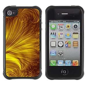 WAWU Funda Carcasa Bumper con Absorci??e Impactos y Anti-Ara??s Espalda Slim Rugged Armor -- sun yellow gold rays abstract -- Apple Iphone 4 / 4S