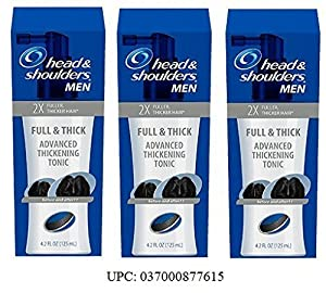 (Pack of 3) Mens Head & Shoulders Full & Thick Advanced Thickening Tonic, 2X Fuller, Thicker Hair, 4.2 ounce each