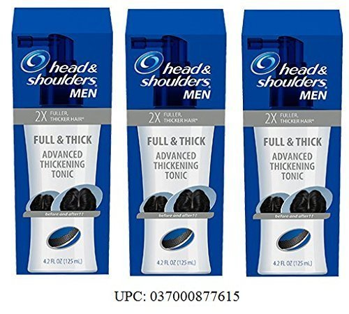 (Pack of 3) Mens Head & Shoulders Full & Thick Advanced Thickening Tonic, 2X Fuller, Thicker Hair, 4.2 ounce each by Head and Shoulders
