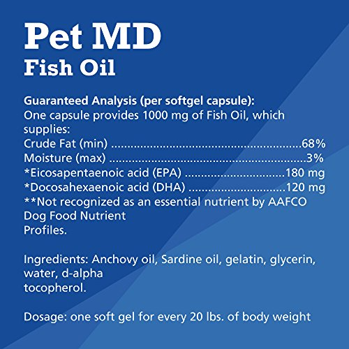 Image of Pet MD – Omega 3 Fish Oil Supplement for Dogs – Skin, Coat, Joint, and Heart Health – 180 Softgels