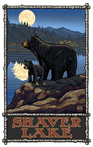 Shaver Lake California Bear Lake Moon Giclee Travel Art Poster by Artist Paul A. Lanquist (24 x 36 inch) Art Print for Bedroom, Living Room, Kitchen, Family and Dorm Room Wall Décor