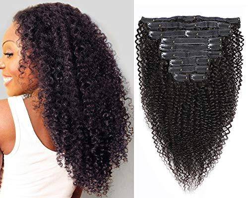 Kinky Curly Clip in Hair Extensions 10Pcs/Set with 21 Clips 8A Brazilian Real Remy Hair 3C 4A Kinkys Curly Human Hair Clip ins Natural Black Color 120Gram(14)