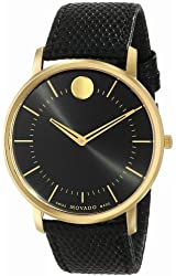 "Movado Men's 0606847 ""Movado TC"" Gold-Plated Stainless Steel Watch with Black Leather Band"