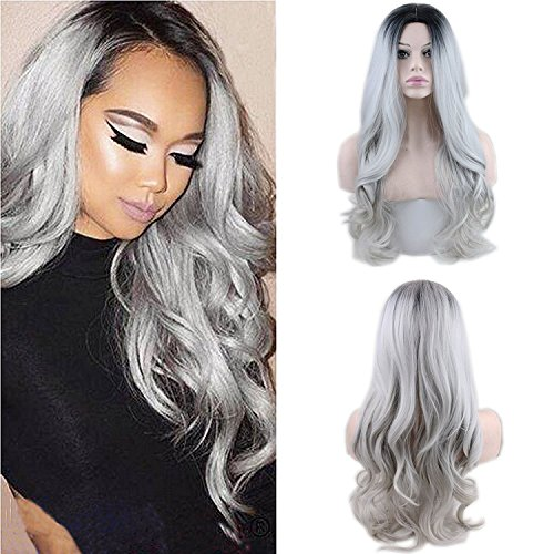 Eseewigs Synthetic Long Wave Ombre Wig Two Tones Black Rooted Grey Heat...