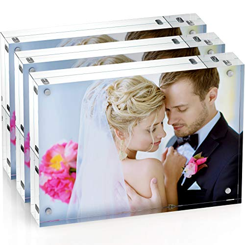 Unum Clear Acrylic 5x7 Picture Frame: Magnetic Floating Picture Frames/Photo Display Stands - Frameless Double Sided Photo Holder - 5 x 7 Inch Acrylic Block Frame for a Desk, Shelf or Table - 3 Pack