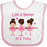 Inktastic - Life's Better In A Tutu KS Baby Bib White/Pink