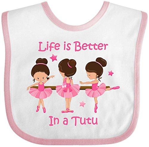 Inktastic - Life's Better In A Tutu KS Baby Bib White/Pink 2bf6c (Newborn Ballerina Outfit)