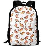 OIlXKV Fish Pattern Simple Yellow Print Custom Casual School Bag Backpack Multipurpose Travel Daypack For Adult