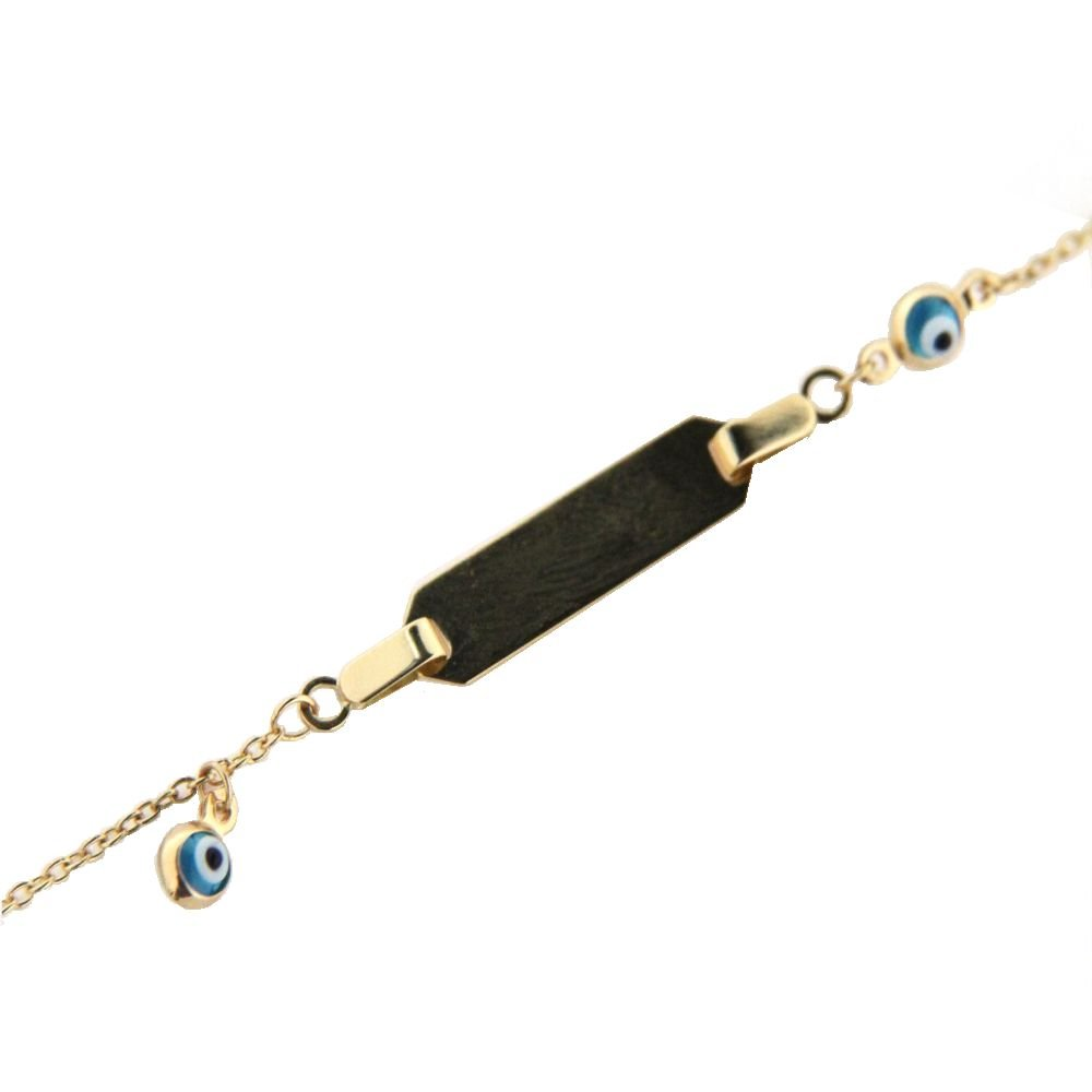 18 K Yellow gold two eyes id bracelet 6 inches with ring in 5 inches