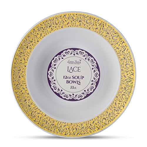 (Laura Stein Designer Tableware Premium Heavyweight 12 Ounce White And Gold Rim Plastic Party & Wedding Soup Bowls Lace Series Disposable Dishes Pack of 40 Soup Bowls)