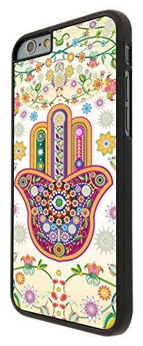052 - Lucky Sharm Floral Hamsa Hand Shaby Chic Design iphone 6 Plus / iphone 6 Plus 5.5'' Coque Fashion Trend Case Coque Protection Cover plastique et métal - Noir