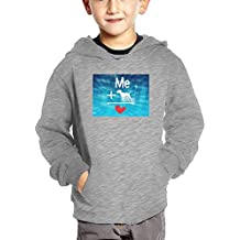 Niohiohjoi Me + Dog = Love Fashionable Long-Sleeved Cotton Hooded Sweatshirts and Pockets For Children.