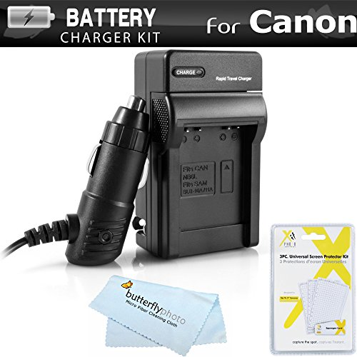 Battery Charger Kit for Canon PowerShot SX280 HS SX500 is SX510 HS SX520 HS, SX170 is, S120, SX610 HS, SX710 HS, SX530 HS, SX540 HS Camera Includes Ac/Dc Charger for Canon NB-6L Battery + More