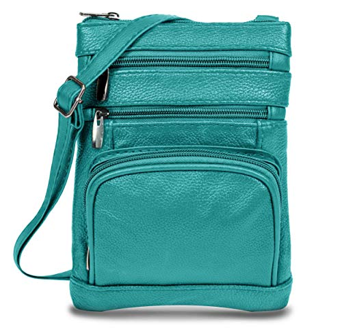 Women's Handbag Genuine Cross Body Purse Bag, Multi-Pocket, Teal Crossbody Bags for Women, Small/Medium Crossbody Bag and Messenger Handbags ()