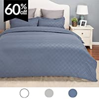 Duvet Cover Set w/Zipper Closure-Grayish Blue Diamond Pattern