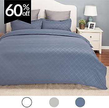 Duvet Cover Set w/Zipper Closure-Grayish Blue Diamond Pattern