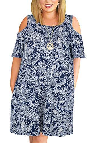 Nemidor Women's Cold Shoulder Plus Size Casual T-Shirt Swing Dress with Pockets (14W, Navy Cashew Flower)