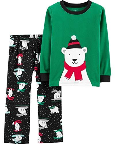 Carter's Baby Boys' 2-Piece Fleece Pajamas (Green/Polar Bear, 18M)