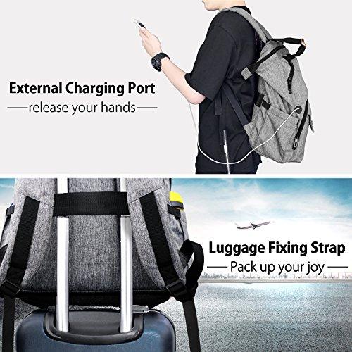 Hap Tim Laptop Backpack 15.6/14/13.3 Inch Laptop Bag Travel Backpack for Women/Men Waterproof School Computer Bag Large Capacity Bookbag for College/Travel/Business (7651US-G) by Hap Tim (Image #4)
