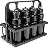 Collapsible Sports Drink Carrier with 8 Plastic 36 OZ Screw-top Squeeze Bottles by Crown Sporting Goods