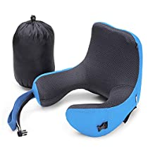 Neck Support Travel Pillow, InLife Memory Foam Neck & Head Support Pillow Soft Sleeping Rest Cushion with Detachable Hood Adjustable Neck Size for Airplane/Car/Train/Bus/Office