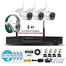 Jennov CCTV Wireless Security Bullet IP Camera System HDMI NVR With 4 PCS 1080P Wifi HD Indoor/Outdoor White Cameras Night Vision Remote Access With Audio Record(No Hard Drive)