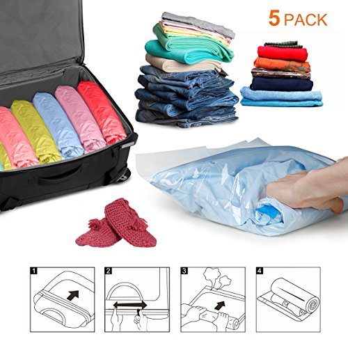 KANGORA Travel Compression Space Saver Storage Bags Rolling Roll Up No Vacuum 5 Pack (2 Medium + 3 Large)