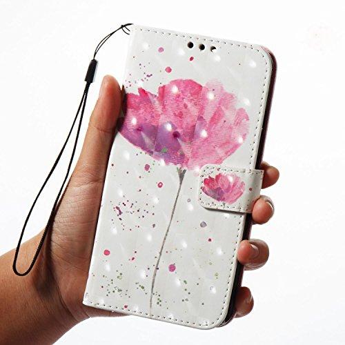 Para Huawei Mate 10 Pro funda, Ecoway pintura 3D caja del teléfono de la PU patrón en relieve ,Función de Soporte Billetera con Tapa para Tarjetas correa - Flor azul Una flor