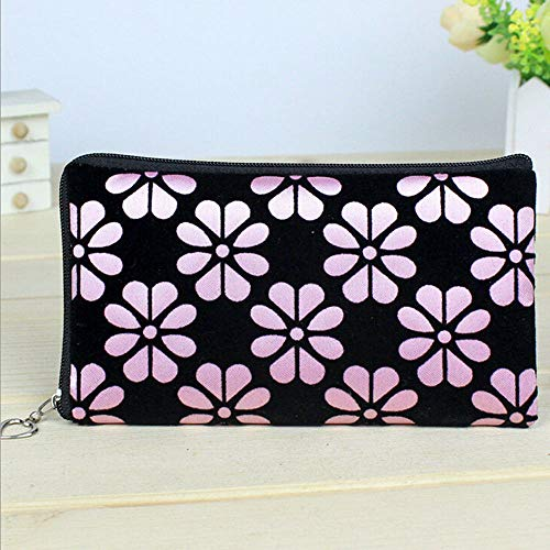 - Women Wallet Flower Printing Coin Purse Clutch Zipper Wallet Phone Key Tote Bags (Color - Pink)